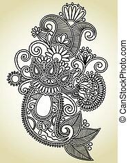 sztuka, ozdobny, projektować, kwiat, kreska