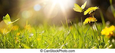 sztuka, trawa, tło, wiosna, lato, świeży, albo, abstrakcyjny