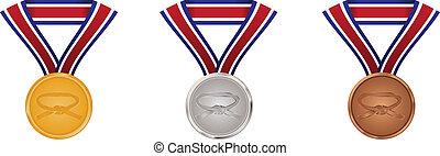 sztuka, złoty, wojenny, medals, srebro, brąz
