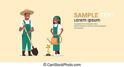 szufelka, ogrodnictwo, pojęcie, rolniczy, dosadzenie, pracujący, gospodarze, łzawienie, amerykanka, dzierżawa, kobieta, ogród, para, ogrodnicy, poziomy, kopia, człowiek, pełny, przestrzeń, drzewo, długość, może, afrykanin