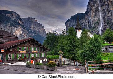 szwajcaria, góra, wodospad, krajobraz
