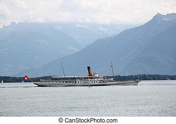 szwajcaria, genewa, stary, parowiec, jezioro