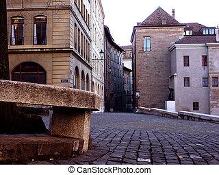 szwajcaria, miasto, genewa, stary, ulica