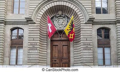 szwajcaria, sprawiedliwość, genewa, dziedziniec, wejście