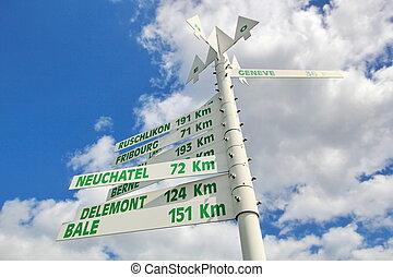 szwajcarski, drogowskaz, miasta