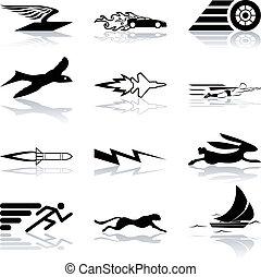 szybki, skuteczny, komplet, ikona, konceptualny