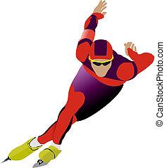 szybkość, ilustracja, skating., wektor