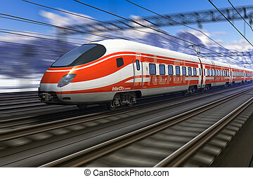 szybkość, poplamić ruch, pociąg, wysoki, nowoczesny