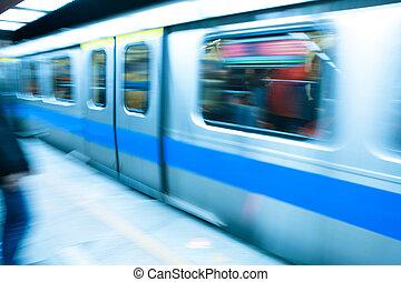 szybkość, rozjazd, pociąg, wysoki, metro