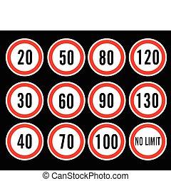 szybkość, wektor, granica, znaki