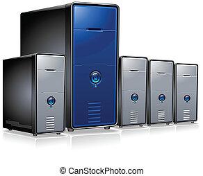 szyk, komputer, servery
