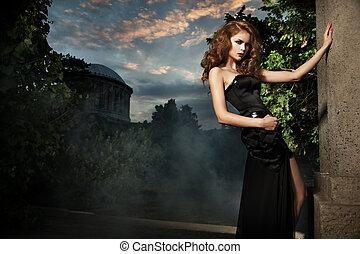 szykowny, kobieta, ogród, sexy