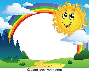 tęcza, 2, krajobraz, słońce