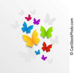 tęcza, abstrakcyjny, tło, motyle, barwny