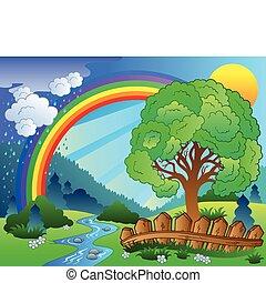 tęcza, drzewo krajobraz