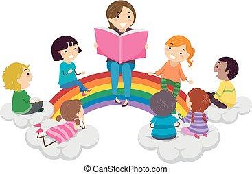 tęcza, dzieciaki, stickman, storytelling, ilustracja