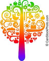 tęcza, ekologiczny, drzewo, ikony
