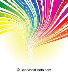 tęcza, gwiazdy, kolor, abstrakcyjny, pas, tło