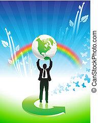 tęcza, handlowy, środowiskowa ochrona, tło, człowiek