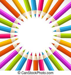 tęcza, koło, wstecz, ołówek, szkoła