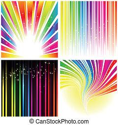 tęcza, komplet, kolor, abstrakcyjny, pas, tło