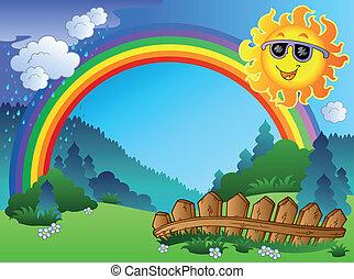 tęcza, krajobraz, słońce