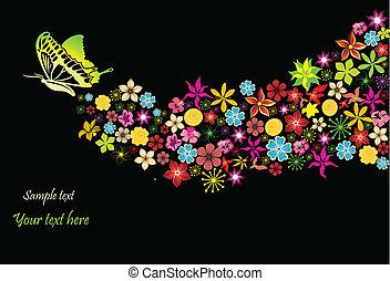 tęcza, kwiaty, wektor, butterfly.