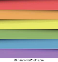 tęcza, listki, barwny, spectrum., abstrakcyjny, tapeta, zachodzące, papier, effect., kolor, wektor, tło, cień, szczęśliwy