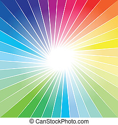 tęcza, promień, wybuch, tło, światła