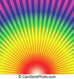 tęcza, promienie, dół, abstrakcyjny, do góry, tło, promieniowy