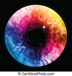 tęcza, przypatrywać się farba, macro., wektor, uczeń