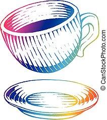 tęcza, rys, barwny, filiżanka, vectorized, kawa, ilustracja, atrament