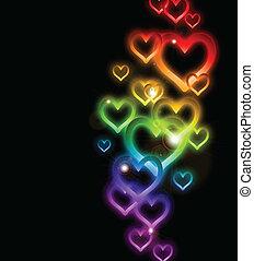 tęcza, sparkles., wektor, brzeg, serce