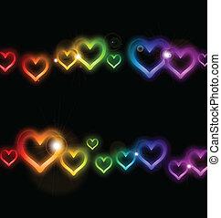 tęcza, ułożyć, wektor, sparkles., serce