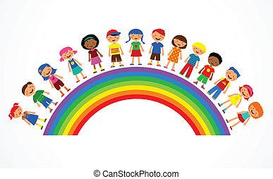 tęcza, wektor, dzieciaki, ilustracja, barwny