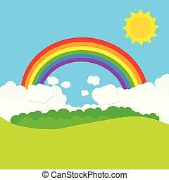 tęcza, wektor, sun., krajobraz, ilustracja