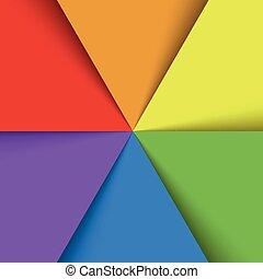 tęcza, załatwiony, listki, barwny, effect., abstrakcyjny, tapeta, widmo, zachodzące, fan., papier, kolor, wektor, tło, cień, szczęśliwy