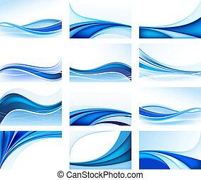 tła, abstrakcyjny, błękitny, komplet, wektor