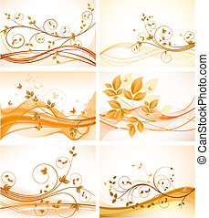 tła, komplet, kwiatowy, abstrakcyjny