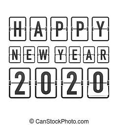 tło., 2020., rok, karcięta., szablon, zegar, odliczanie do zera, retro, powitanie, czarnoskóry, illustration., wektor, nowy, trzepnięcie