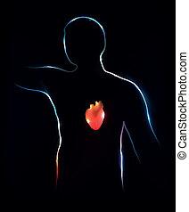tło., abstrakcyjny, heart., medyczna ilustracja