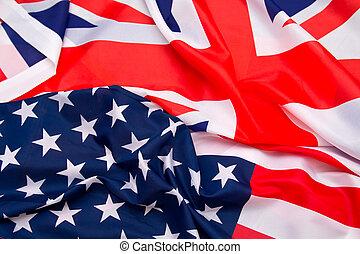 tło., bandera, usa, uk