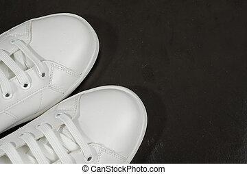 tło., biały, odizolowany, sneakers, czarnoskóry