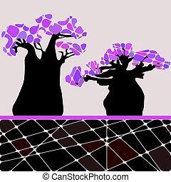 tło, drzewo baobabu, barwny, liście