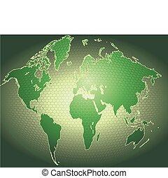 tło, dynamiczny, światowa mapa, 3d