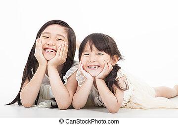 tło, dziewczyny, biały, szczęśliwy, asian, dwa