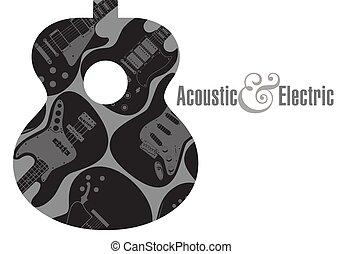tło, gitara, afisz, elektryczny, akustyczny
