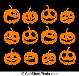 tło, halloween, dynie, noc