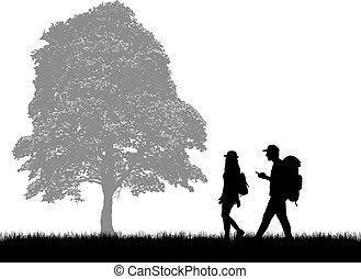 tło., ludzie, sylwetka, natura, backpacks