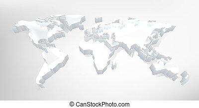tło, mapa, 3d, technologia, świat, cyfrowy